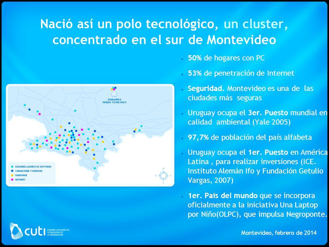 Nació así un polo tecnológico, un cluster, concentrado en el sur de Montevideo Montevideo, febrero de 2014 50% de hogares con PC 53% de penetración de Internet Seguridad.