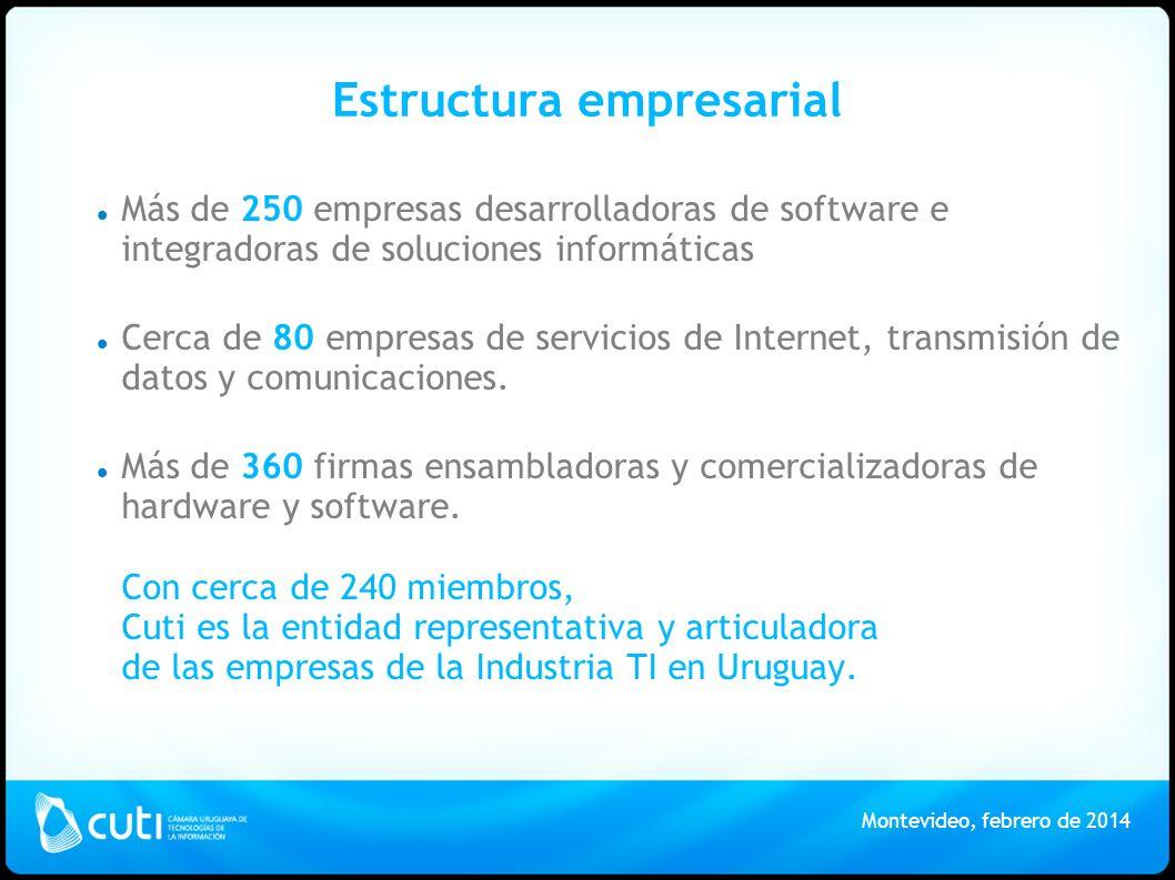 Estructura empresarial Más de 250 empresas desarrolladoras de software e integradoras de soluciones informáticas Cerca de 80 empresas de servicios de Internet, transmisión de datos y comunicaciones.