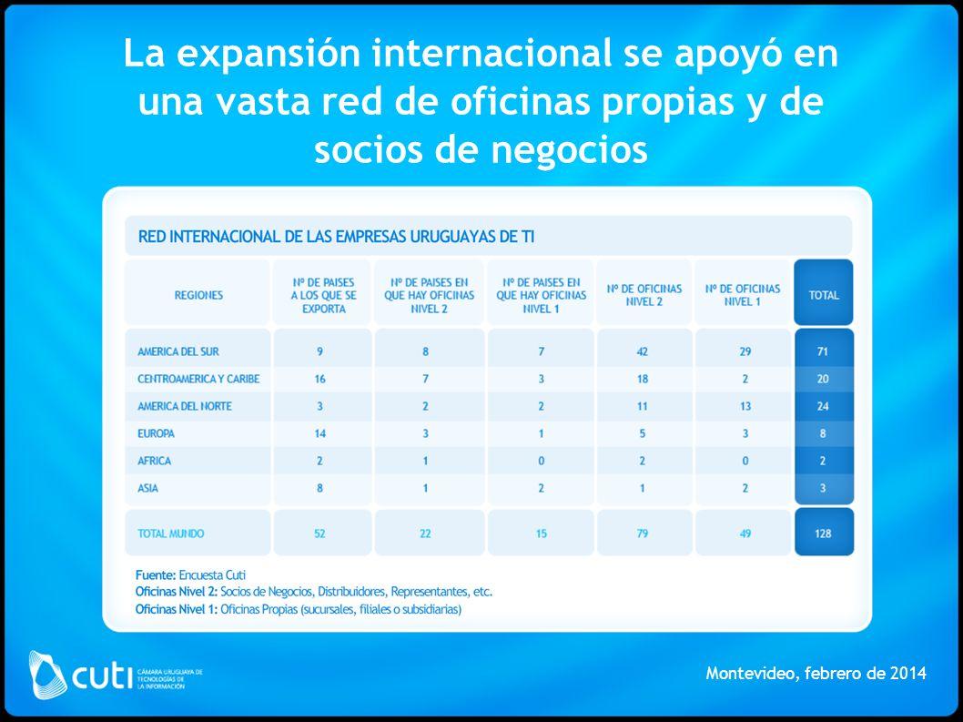 La expansión internacional se apoyó en una vasta red de oficinas propias y de socios de negocios Montevideo, febrero de 2014