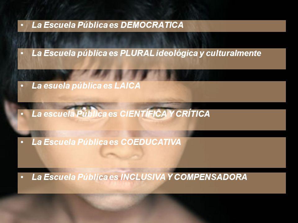 La Escuela Pública es DEMOCRATICA La Escuela pública es PLURAL ideológica y culturalmente La Escuela Pública es INCLUSIVA Y COMPENSADORA La esuela púb