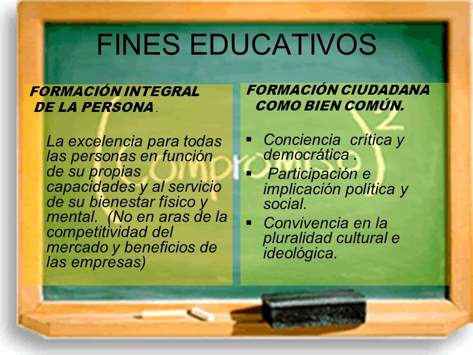 FINES EDUCATIVOS FORMACIÓN INTEGRAL DE LA PERSONA. La excelencia para todas las personas en función de su propias capacidades y al servicio de su bien