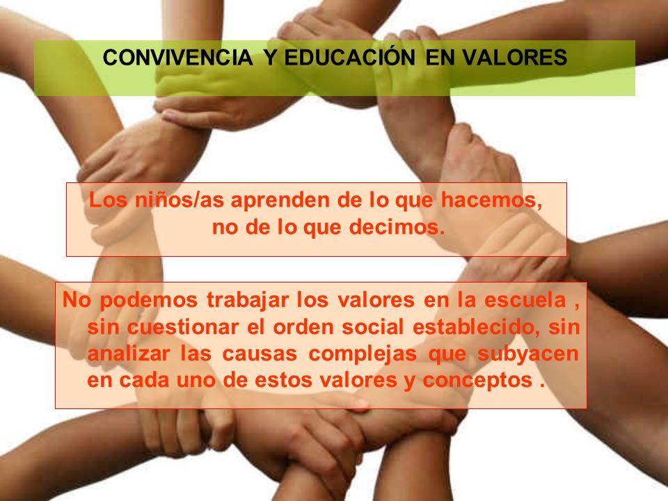 CONVIVENCIA Y EDUCACIÓN EN VALORES Los niños/as aprenden de lo que hacemos, no de lo que decimos. No podemos trabajar los valores en la escuela, sin c