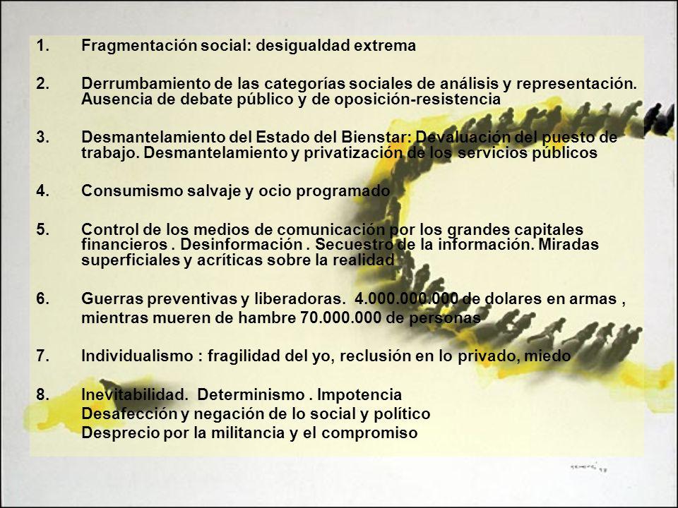 1.Fragmentación social: desigualdad extrema 2.Derrumbamiento de las categorías sociales de análisis y representación. Ausencia de debate público y de