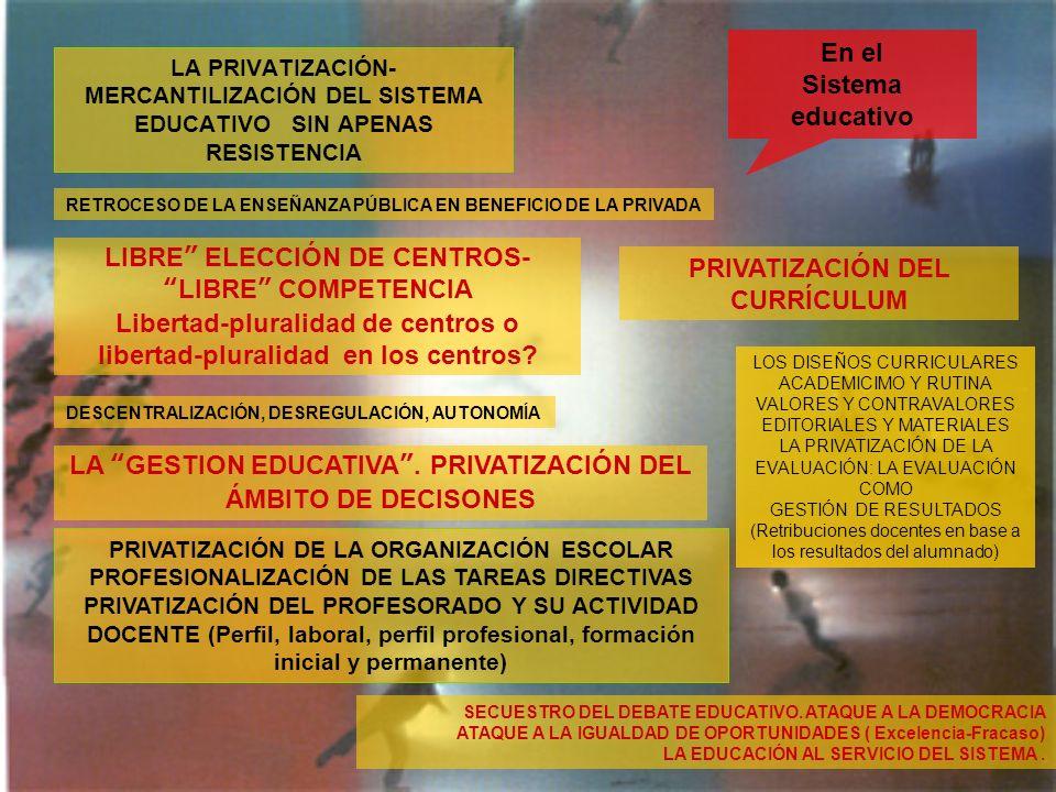 LA PRIVATIZACIÓN- MERCANTILIZACIÓN DEL SISTEMA EDUCATIVO SIN APENAS RESISTENCIA En el Sistema educativo RETROCESO DE LA ENSEÑANZA PÚBLICA EN BENEFICIO