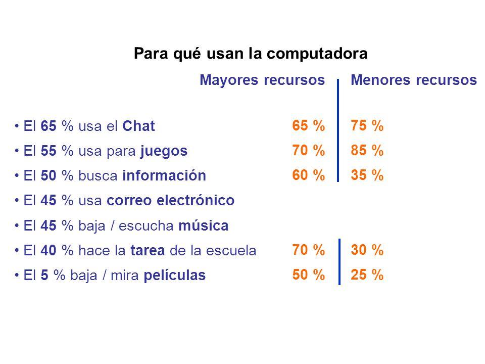 Para qué usan la computadora El 65 % usa el Chat El 55 % usa para juegos El 50 % busca información El 45 % usa correo electrónico El 45 % baja / escuc