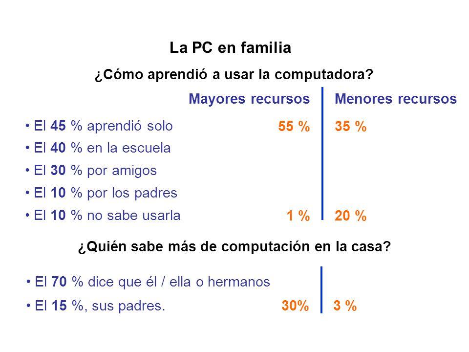 La PC en familia ¿Quién sabe más de computación en la casa? El 70 % dice que él / ella o hermanos El 15 %, sus padres. ¿Cómo aprendió a usar la comput