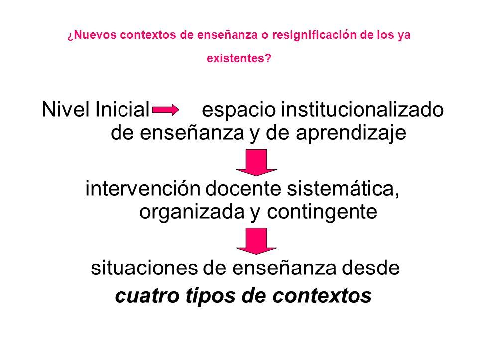 ¿ Nuevos contextos de enseñanza o resignificación de los ya existentes.