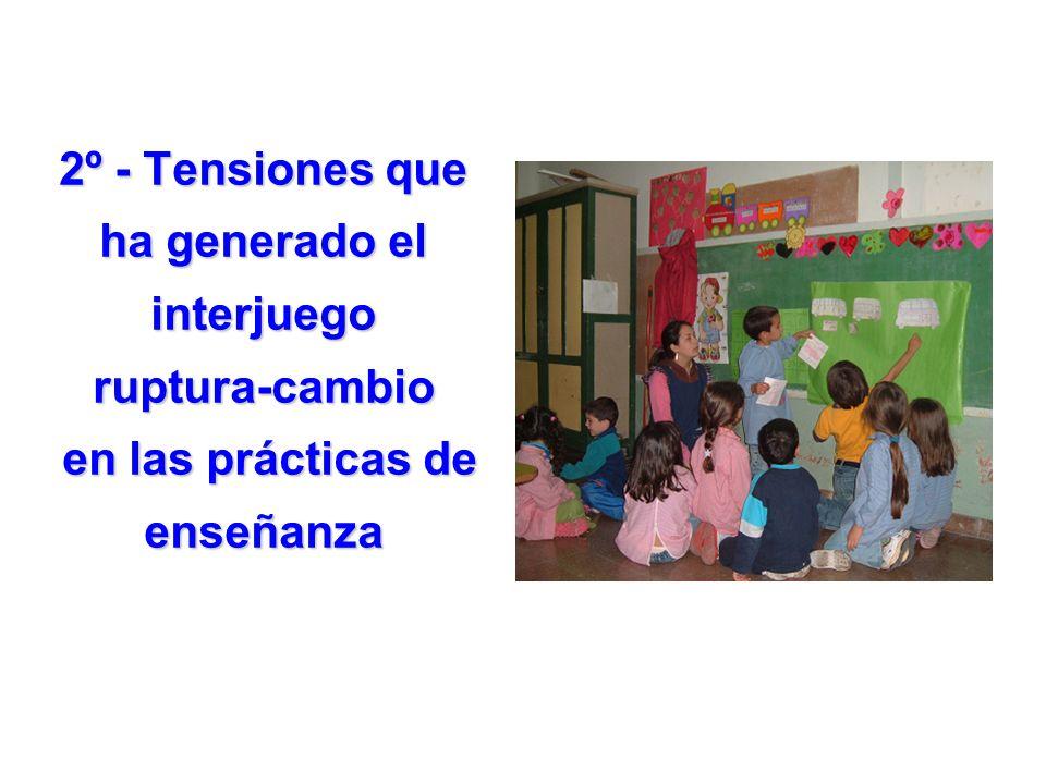 2º - Tensiones que ha generado el interjuego ruptura-cambio en las prácticas de enseñanza