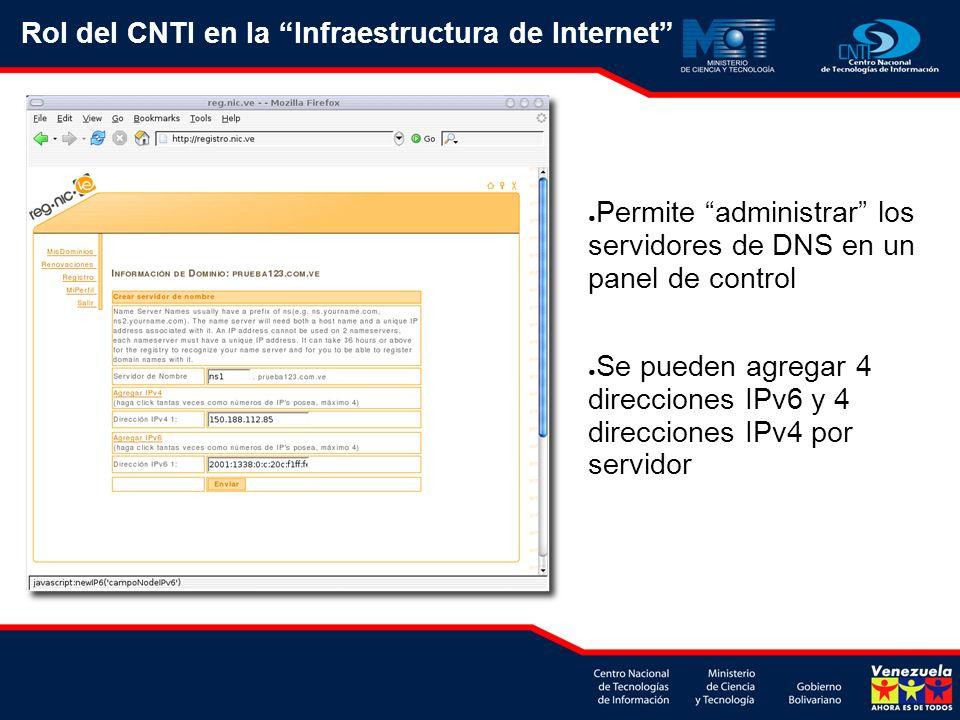 Permite administrar los servidores de DNS en un panel de control Se pueden agregar 4 direcciones IPv6 y 4 direcciones IPv4 por servidor