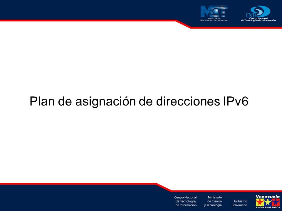 Plan de asignación de direcciones IPv6