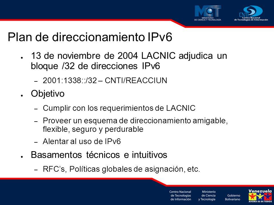 13 de noviembre de 2004 LACNIC adjudica un bloque /32 de direcciones IPv6 – 2001:1338::/32 – CNTI/REACCIUN Objetivo – Cumplir con los requerimientos de LACNIC – Proveer un esquema de direccionamiento amigable, flexible, seguro y perdurable – Alentar al uso de IPv6 Basamentos técnicos e intuitivos – RFCs, Políticas globales de asignación, etc.
