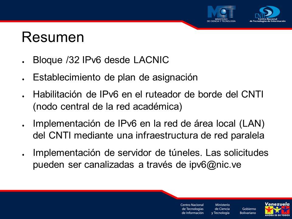 Resumen Bloque /32 IPv6 desde LACNIC Establecimiento de plan de asignación Habilitación de IPv6 en el ruteador de borde del CNTI (nodo central de la red académica) Implementación de IPv6 en la red de área local (LAN) del CNTI mediante una infraestructura de red paralela Implementación de servidor de túneles.