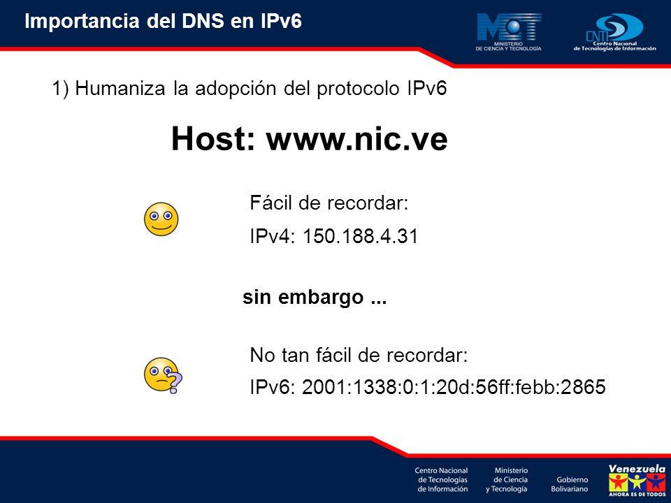 1) Humaniza la adopción del protocolo IPv6 Fácil de recordar: IPv4: 150.188.4.31 No tan fácil de recordar: IPv6: 2001:1338:0:1:20d:56ff:febb:2865 Host: www.nic.ve sin embargo...
