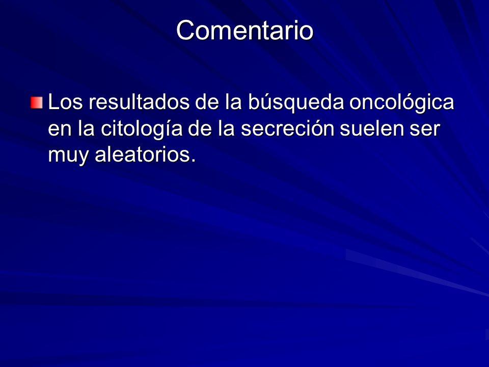 Comentario Los resultados de la búsqueda oncológica en la citología de la secreción suelen ser muy aleatorios.