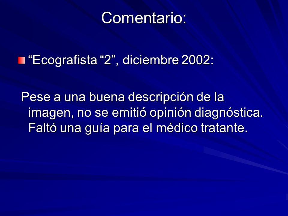 Comentario: Ecografista 2, diciembre 2002: Pese a una buena descripción de la imagen, no se emitió opinión diagnóstica. Faltó una guía para el médico