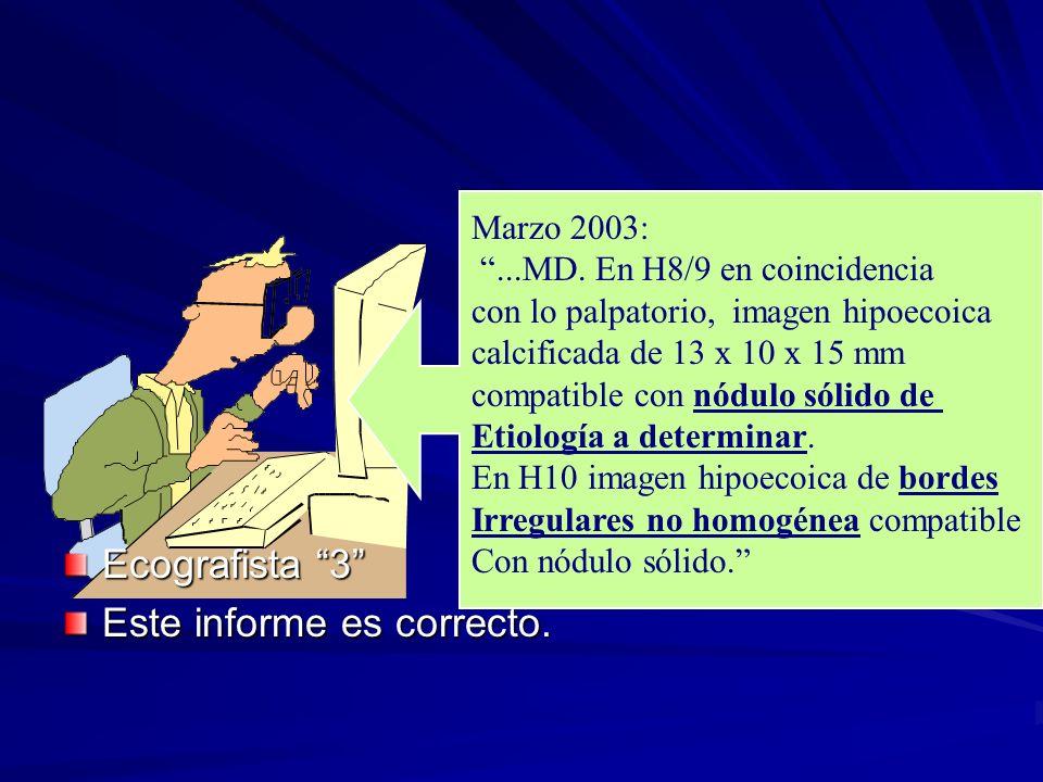 Marzo 2003:...MD. En H8/9 en coincidencia con lo palpatorio, imagen hipoecoica calcificada de 13 x 10 x 15 mm compatible con nódulo sólido de Etiologí