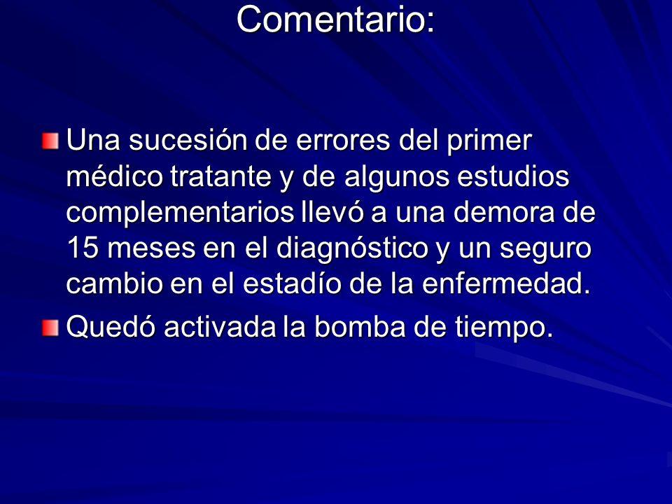 Comentario: Una sucesión de errores del primer médico tratante y de algunos estudios complementarios llevó a una demora de 15 meses en el diagnóstico