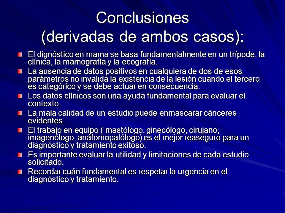 Conclusiones (derivadas de ambos casos): El dignóstico en mama se basa fundamentalmente en un trípode: la clínica, la mamografía y la ecografía. La au