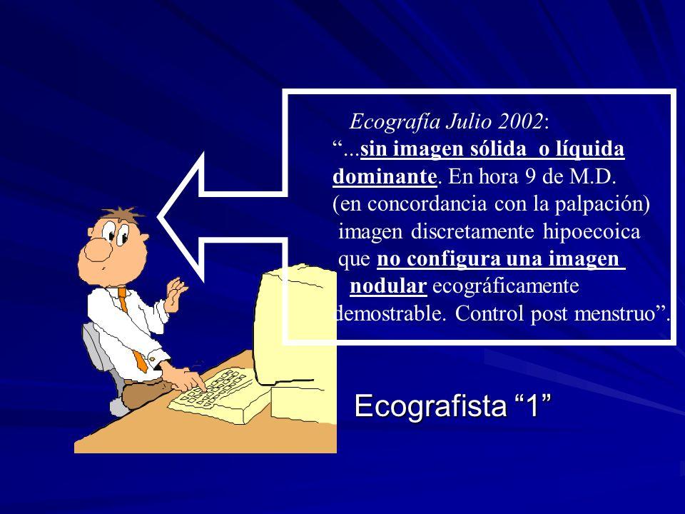 Ecografía Julio 2002:...sin imagen sólida o líquida dominante. En hora 9 de M.D. (en concordancia con la palpación) imagen discretamente hipoecoica qu