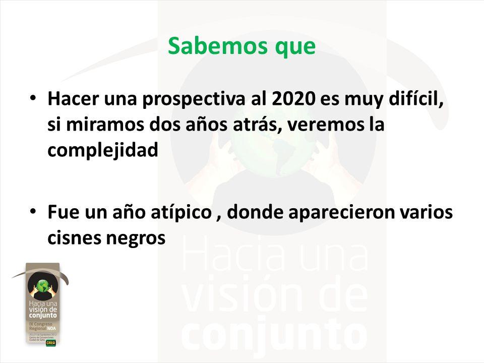 Sabemos que Hacer una prospectiva al 2020 es muy difícil, si miramos dos años atrás, veremos la complejidad Fue un año atípico, donde aparecieron vari