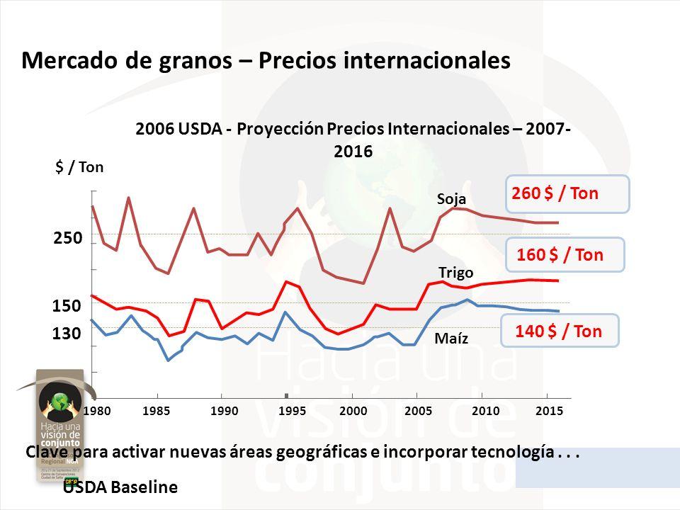 USDA Baseline 250 150 130 $ / Ton 19801985199019952000200520102015 Soja Trigo Maíz 260 $ / Ton 160 $ / Ton 140 $ / Ton 2006 USDA - Proyección Precios