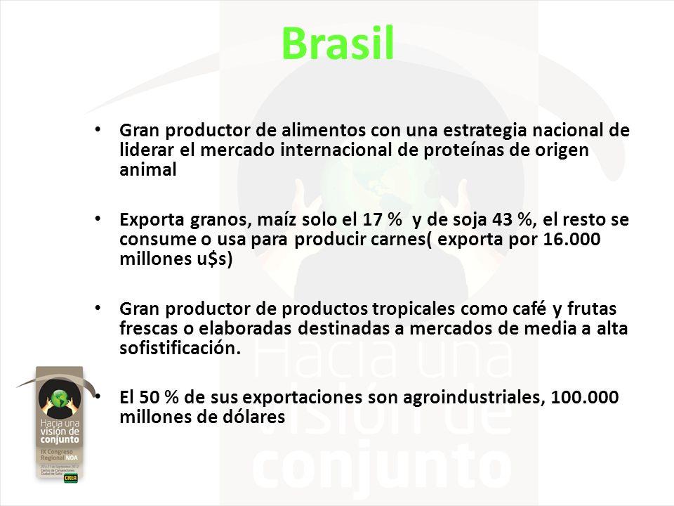 Brasil Gran productor de alimentos con una estrategia nacional de liderar el mercado internacional de proteínas de origen animal Exporta granos, maíz