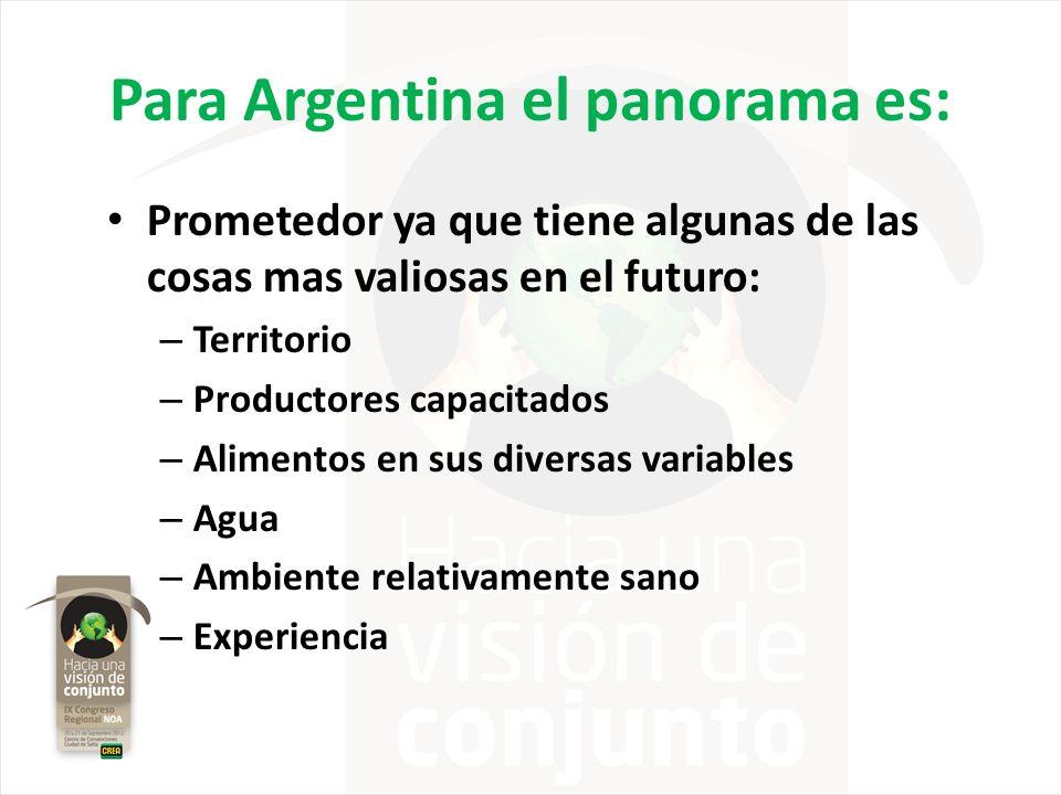 Para Argentina el panorama es: Prometedor ya que tiene algunas de las cosas mas valiosas en el futuro: – Territorio – Productores capacitados – Alimen
