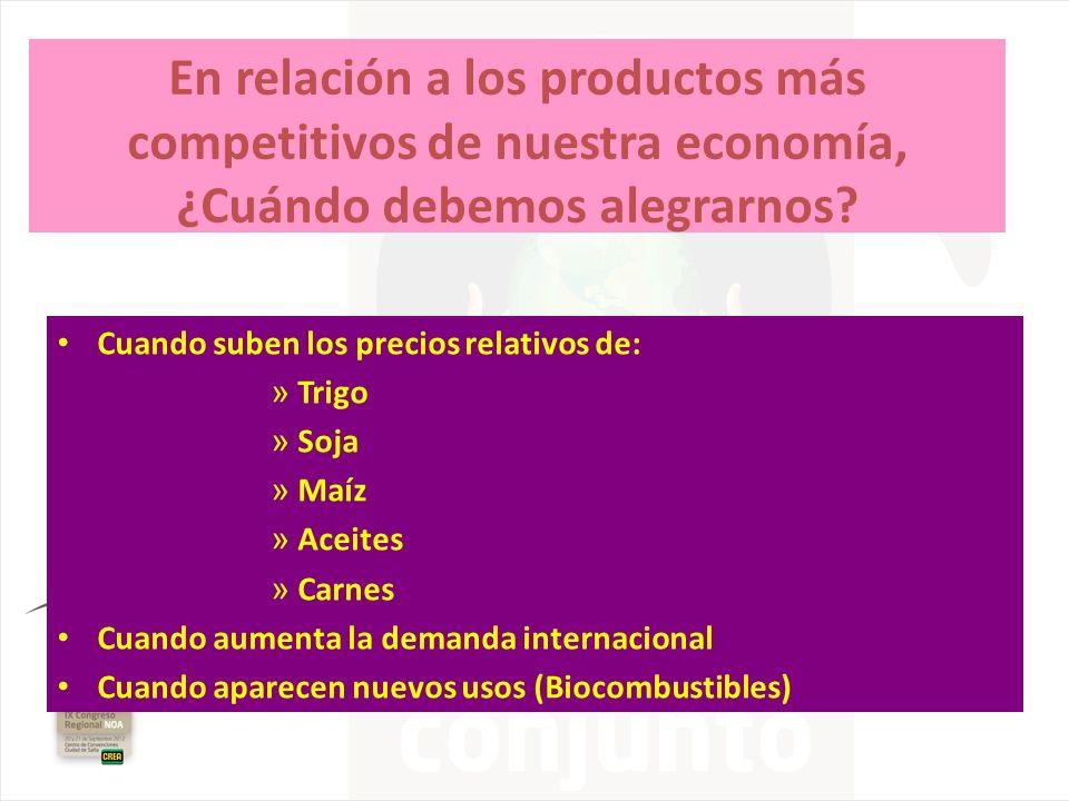 En relación a los productos más competitivos de nuestra economía, ¿Cuándo debemos alegrarnos? Cuando suben los precios relativos de: » Trigo » Soja »