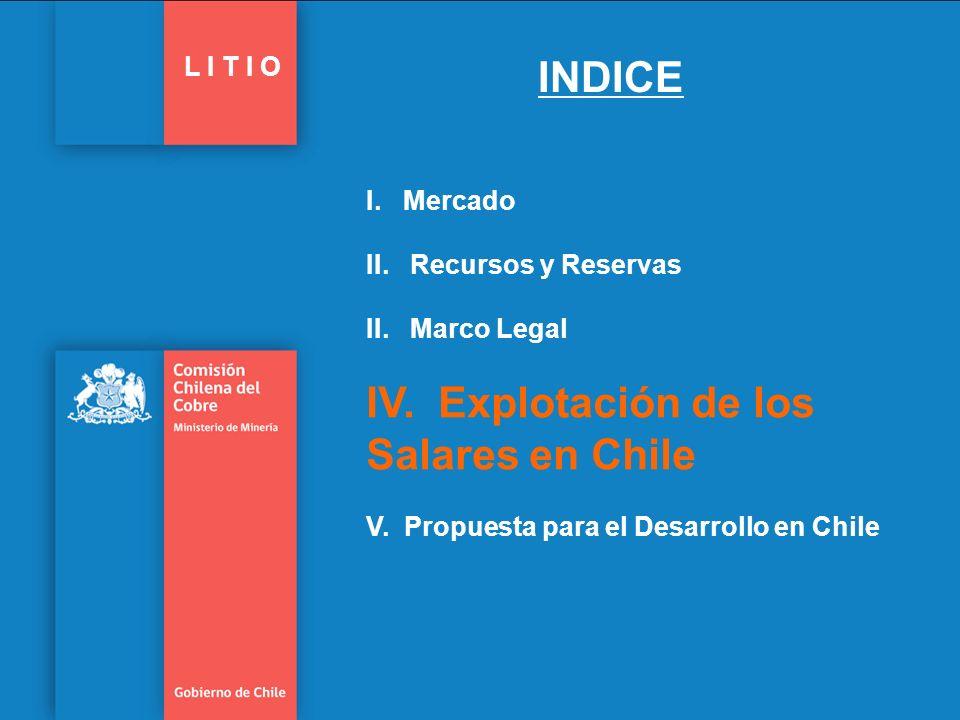 Salares con Potencial de Explotación de Litio 21 Gobierno de Chile | Comisión Chilena del Cobre L I T I O Chile cuenta con más de 50 salares o cuencas cerradas.