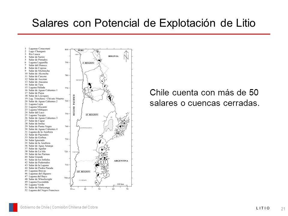 Salares con Potencial de Explotación de Litio 21 Gobierno de Chile | Comisión Chilena del Cobre L I T I O Chile cuenta con más de 50 salares o cuencas