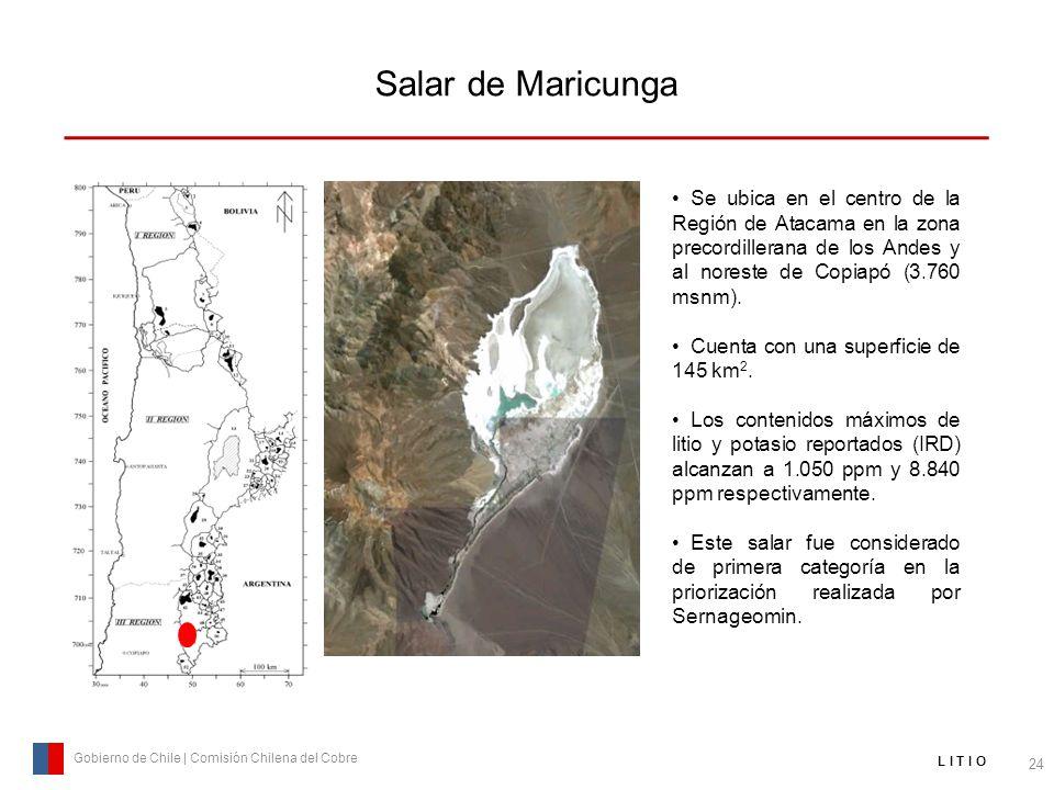 Salar de Maricunga 24 Gobierno de Chile | Comisión Chilena del Cobre L I T I O Se ubica en el centro de la Región de Atacama en la zona precordilleran