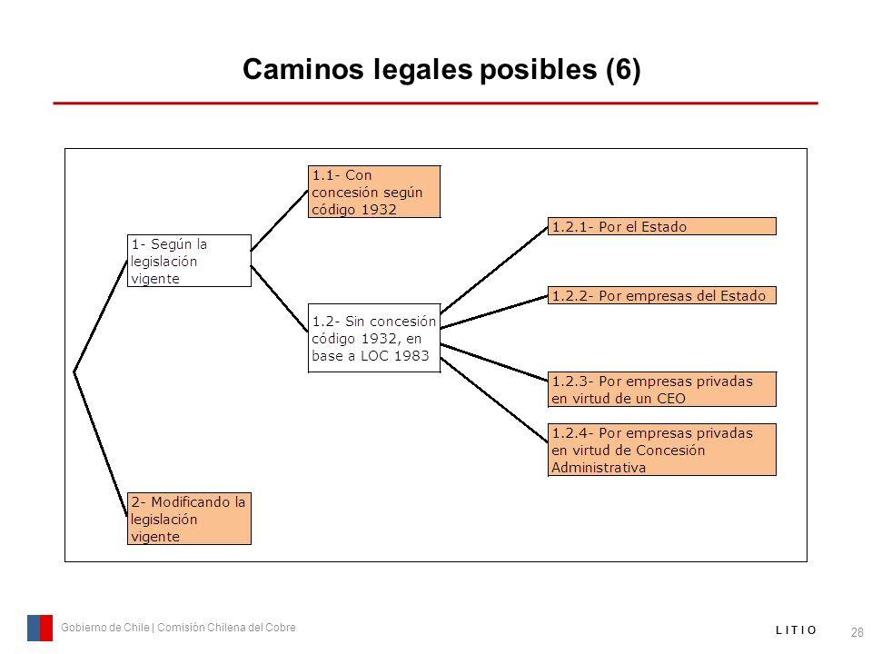 Caminos legales posibles (6) 28 Gobierno de Chile | Comisión Chilena del Cobre L I T I O