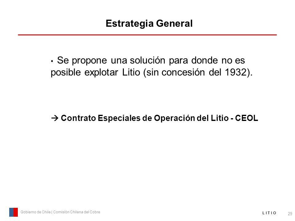 Estrategia General 29 Gobierno de Chile | Comisión Chilena del Cobre L I T I O Se propone una solución para donde no es posible explotar Litio (sin co