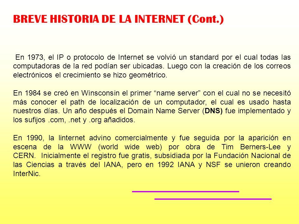 BREVE HISTORIA DE LA INTERNET Cuando las computadoras comenzaron a conectarse unas con otras a través de W.A.N. (Wide Area Networks) tales como ARPANE