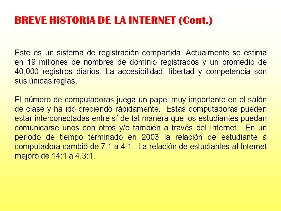 BREVE HISTORIA DE LA INTERNET (Cont.) En 1995 se acabó el subsidio e Internic comienza a cobrar $100 por cada registro por dos años. En 1998 se permit