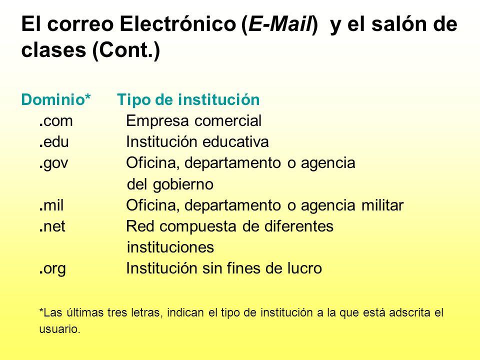 El correo electrónico (E-Mail) y el salón de clases (Cont.) Elementos básicos de las direcciones: Identificación del usuario El signo de @ La identifi