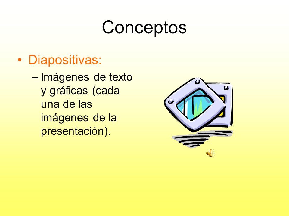 Conceptos (cont.) PowerPoint – Programa de presentaciones gráficas –permite crear presentaciones electrónicas con diapositivas. Esquemas, Documentos,