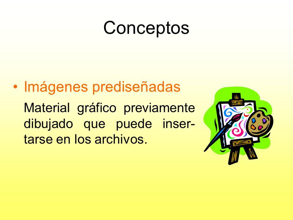 Conceptos Diapositivas: –Imágenes de texto y gráficas (cada una de las imágenes de la presentación).