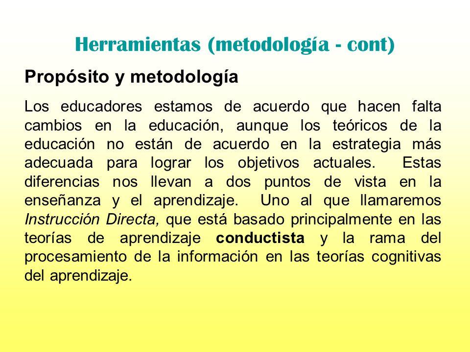 Herramientas (metodología - cont) Propósito y metodología En la misma medida en que la educación cambia para reflejar las necesidades sociales y educa