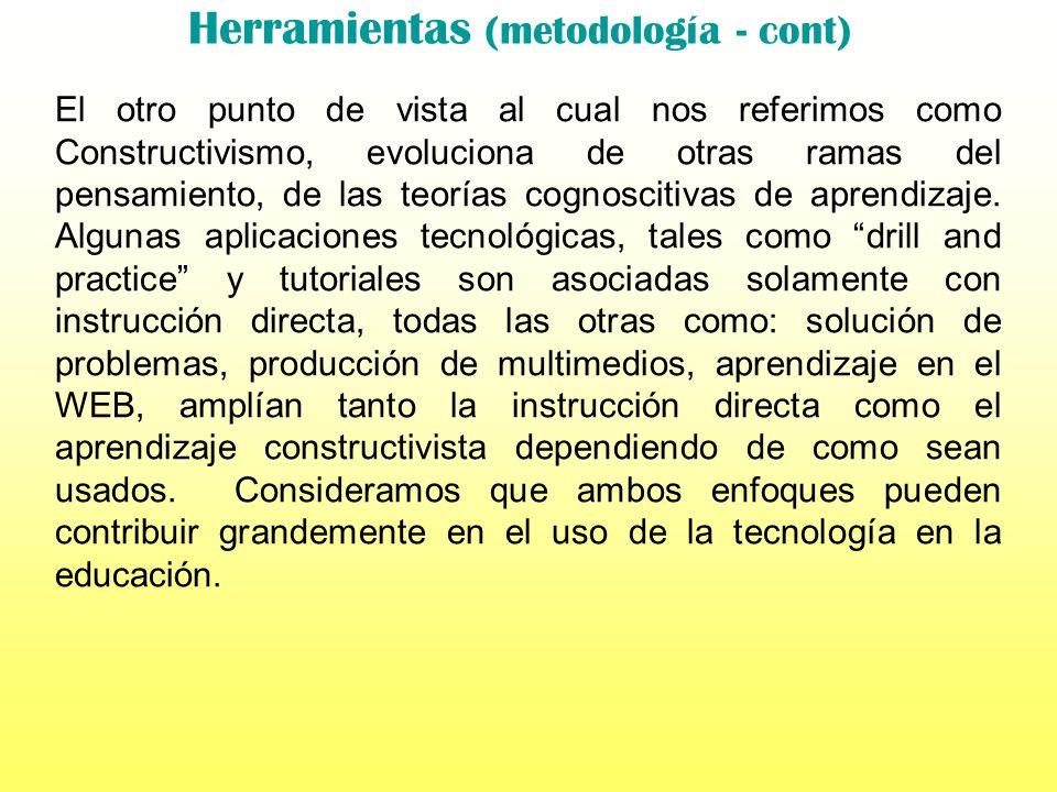 Herramientas (metodología - cont) Propósito y metodología Los educadores estamos de acuerdo que hacen falta cambios en la educación, aunque los teóric