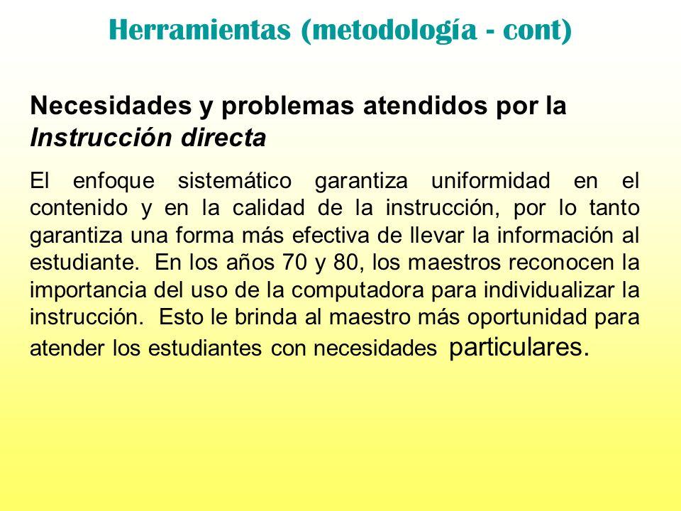 Herramientas (metodología - cont) Necesidades y problemas atendidos por la Instrucción directa Aunque los métodos de Instrucción directa están basados