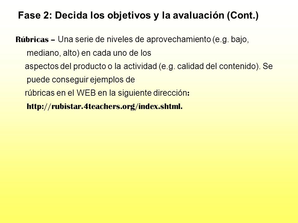 Fase 2: Decida los objetivos y la avaluación (Cont.) Listas de cotejo de aprovechamiento - Listas de tareas que los estudiantes necesitan hacer para c