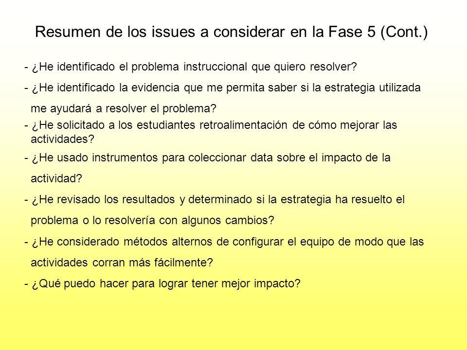 Resumen de los issues a considerar en la Fase 5 (Cont.) ¿Cómo sabes que no has integrado bien la Tecnología? - Consistentemente ves la tecnología más
