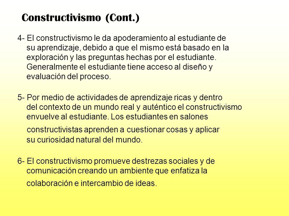 Si estableciéramos el Constructivismo como nuestro enfoque metodológico,podemos enumerar seis beneficios específicos del mismo: ` 1- El estudiante apr