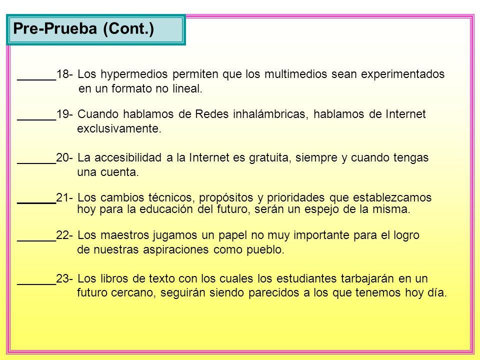 ______12- Para construir un blog se necesita una cuenta de Internet. ______13- El blog es un tipo de página electrónica del WEB. ______14- Un edublog