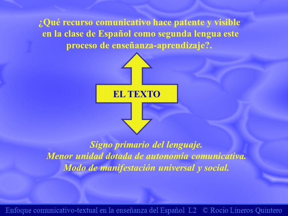 Enfoque comunicativo-textual en la enseñanza del Español L2 © Rocío Lineros Quintero ¿Qué recurso comunicativo hace patente y visible en la clase de E