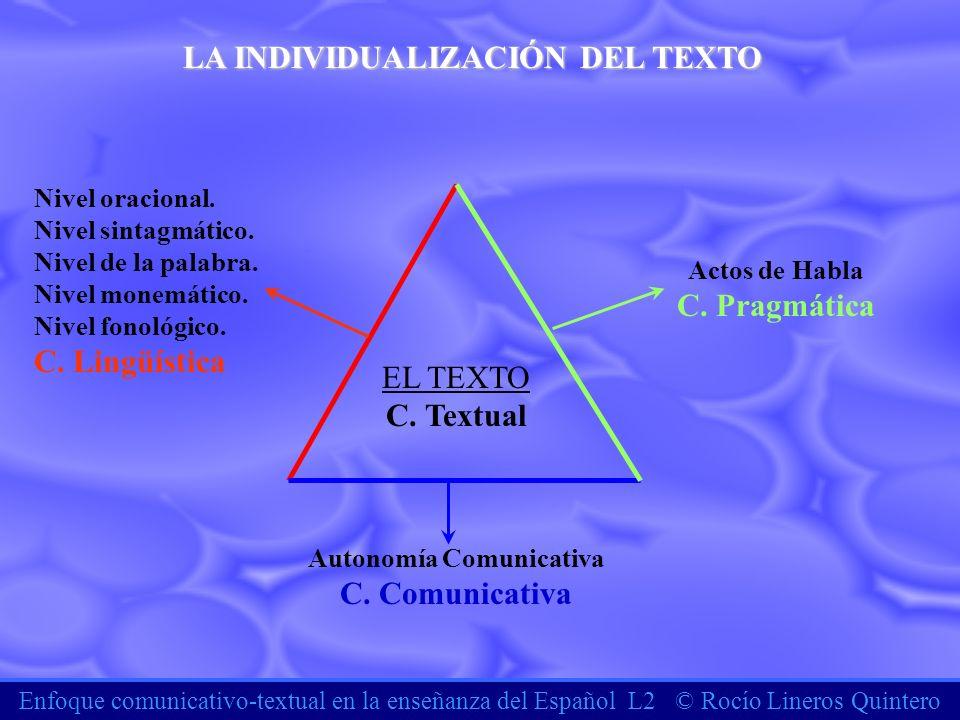Enfoque comunicativo-textual en la enseñanza del Español L2 © Rocío Lineros Quintero LA INDIVIDUALIZACIÓN DEL TEXTO EL TEXTO C. Textual Autonomía Comu