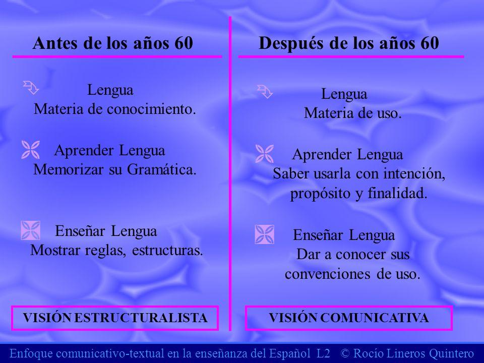 Enfoque comunicativo-textual en la enseñanza del Español L2 © Rocío Lineros Quintero Antes de los años 60Después de los años 60 Ê Lengua Materia de co