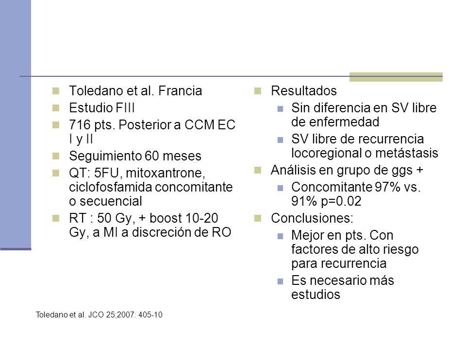 Toledano et al. Francia Estudio FIII 716 pts. Posterior a CCM EC I y II Seguimiento 60 meses QT: 5FU, mitoxantrone, ciclofosfamida concomitante o secu