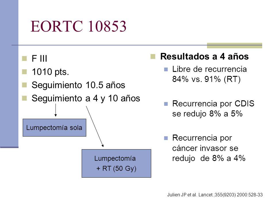 EORTC 10853 F III 1010 pts. Seguimiento 10.5 años Seguimiento a 4 y 10 años Resultados a 4 años Libre de recurrencia 84% vs. 91% (RT) Recurrencia por